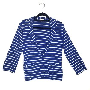 Caslon One Button Blazer, Blue White Striped, Sz L